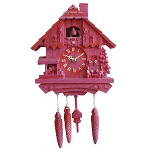 Horloge en plastique kitsch Coucou rose : Decoclico
