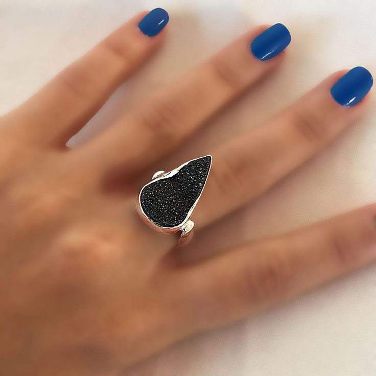 silver ring with a black Druzy gemstone, Large teardrop druzy ring, Ring size US 5.5, Druzy healing ring, Black druzy ring,Black druzy agate by NiliJewelryStore on Etsy
