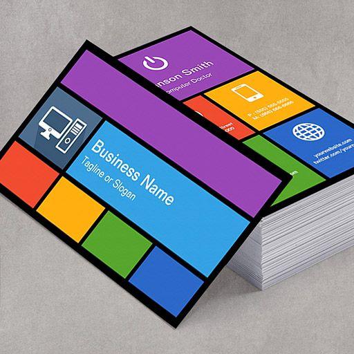 Computer Retailer Repair - Colorful Tiles Creative Business Cards
