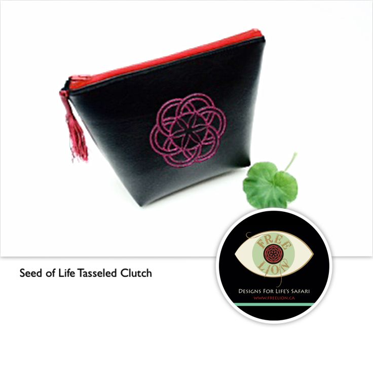 """It's Vegan and Wonderful!  Our  tasseled clutch is made from vegan leather and embroidered with the Seed of Life, sacred geometry's way of saying, """"Hello world! It's a new day and I'm pleased to meet ya. What's today's adventure?"""" #seedoflife #sacredgeometry #clutch #vegan #ethicalfashion #vancity #veganlifestyle"""