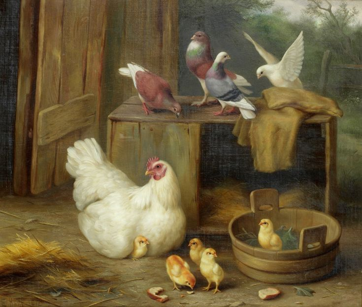 Edgar Hunt Farmyard scene with chickens 1912 in 2019
