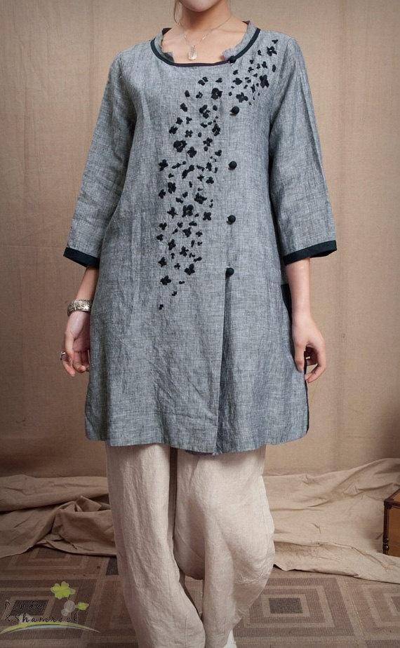 trees/women dress/blouse/top/linen/custom by pandaandshamrock, $88.00