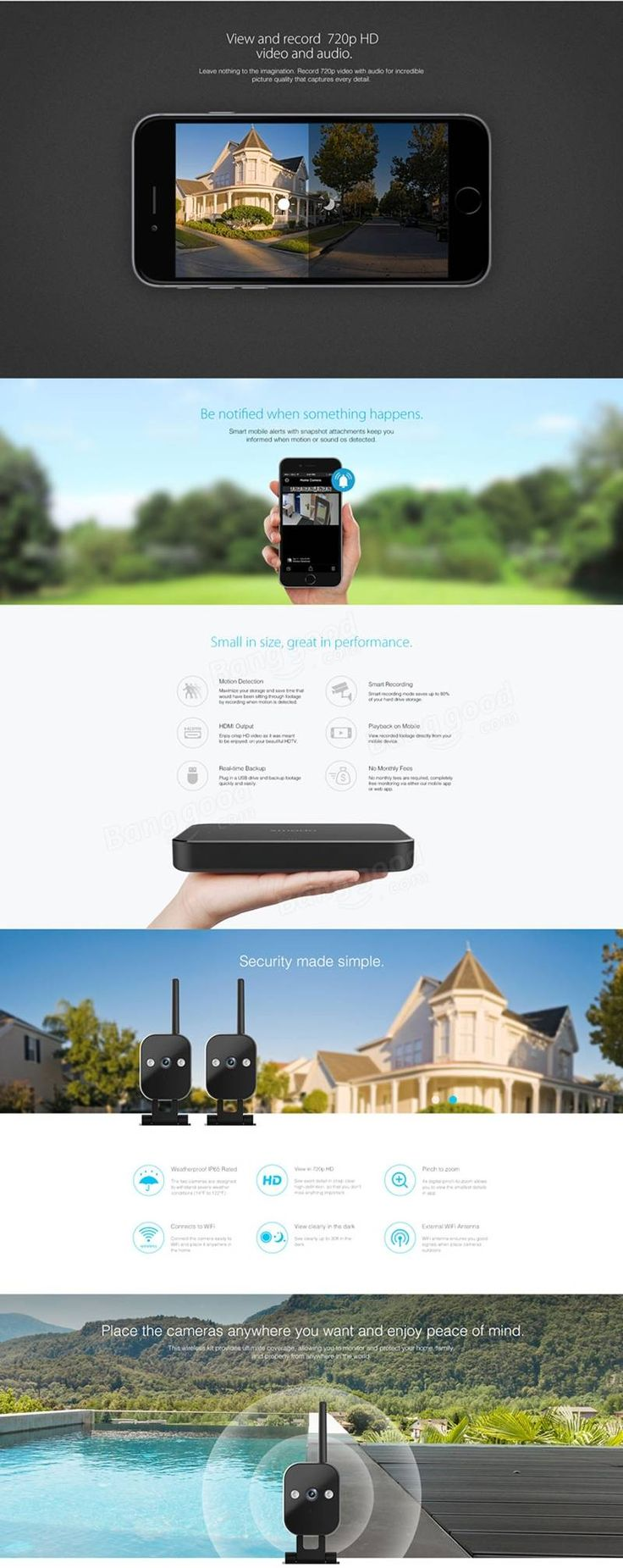 Zmodo 720P 4CH Smart Home Wireless Security Camera System Night Vision Outdoor Indoor With 1TB WD HDDTB HDD at Banggood