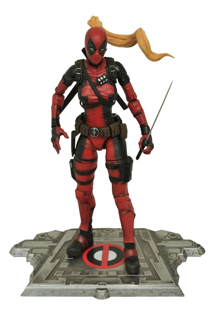 """Diamond Select Toys Marvel Select Lady Deadpool Action Figure. Recreates Marvel Comics' Deadpool from parallel Earth-3010. Stands approximately 6-1/2"""". 16 points of articulation. Diorama base. Accessories include swords, a bazooka and Headpool."""
