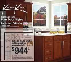 Kitchen Kompact 20' Lshape Prefinished Cabinetry In Glenwood Adorable Kitchen Cabinets Menards Design Inspiration