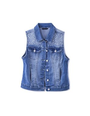 denim gilet with yoke embellishment