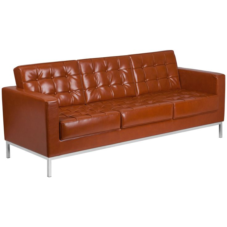 Flash Furniture Hercules Lacey Series Contemporary Leather Sofa with Stainless Steel Frame (