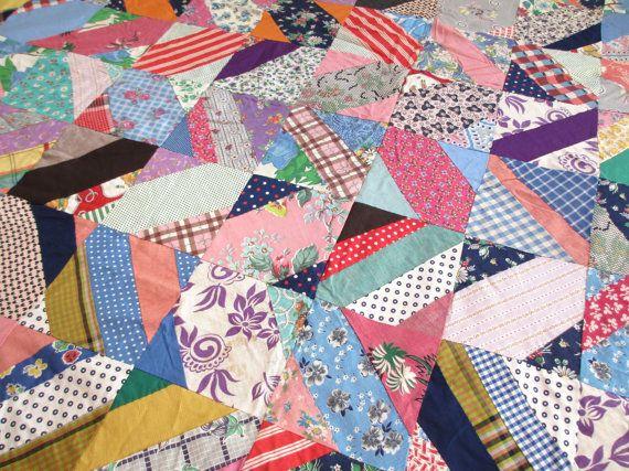 Crazy. Vtg midcentury quilt top / hand work handmade stitched / feedsack fabrics / home decor bedding / DIY project by fuzzandfu, $92.00