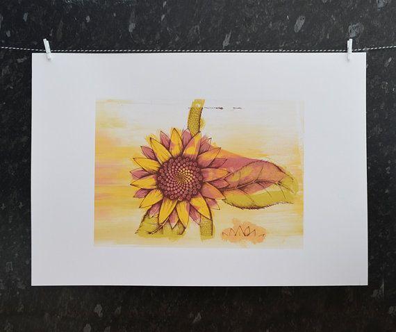 Girasole Trail - color – monoprint serigrafia. Fiore luminoso colorato estate. Unica arte moderna sorprendente. Uno di un genere d'arte originale.