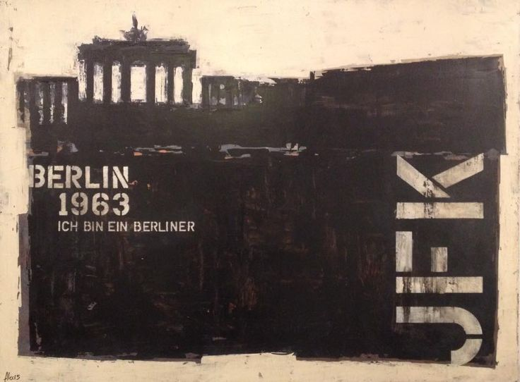 "BERLIN - Ich bin ein Berliner 2015 Acrylique sur bois 48"" x 36"" VENDU http://alecsurfaces.blogspot.ca/"