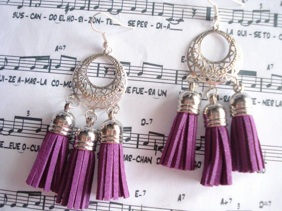 Tassel filigree chandelier Tassel earrings Boho jewelry by Poppyg