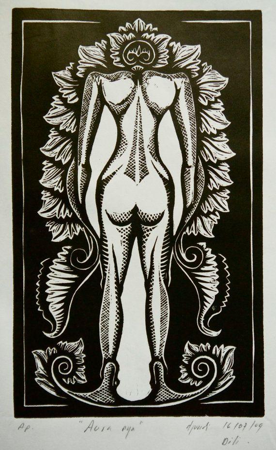 "Beautiful Woodcut Print ""The Aura"" - Original by Djuwadi on Etsy, $25.00 AUD"