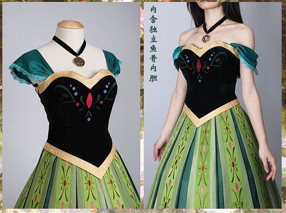 J712 Movies Frozen Snow Queen ANNA Cosplay Costume by angelssecret, $195.00