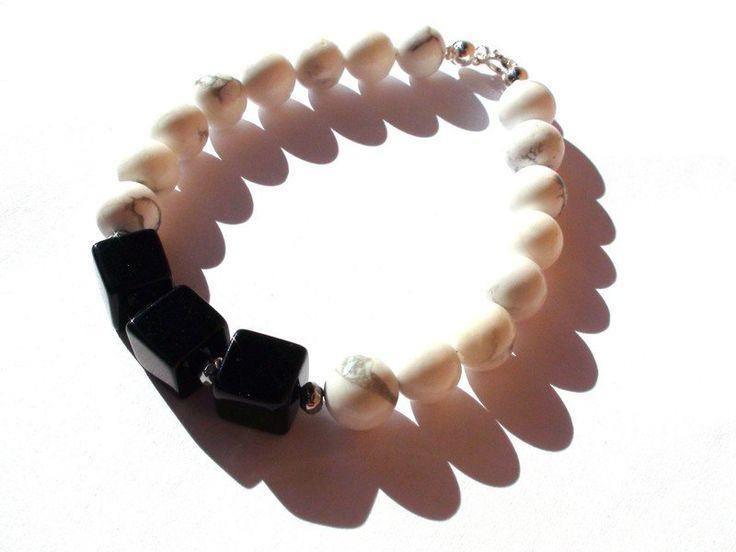 Mens Bracelets – Mens Bracelet - Onyx, Howlite, 925 sterling silver – a unique product by OlgaJewelryBoutique on DaWanda