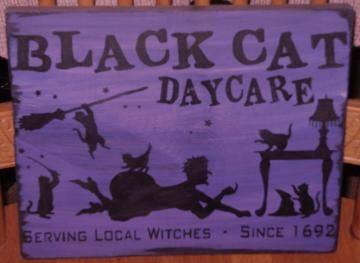 Black Cats Daycare Sign Primitive Halloween Witch Decorations Witchcraft Magic Kittens Whimsical Pagans Witches Samhain Folk Art by SleepyHollowPrims for $21.60