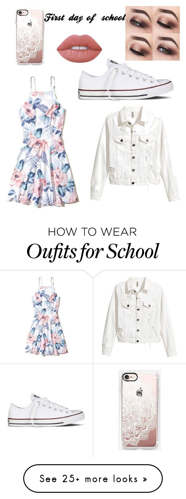 """First day of school"" by slapthecrazyunicorn on Polyvore featuring Hollister Co., Converse, Casetify and Lime Crime"