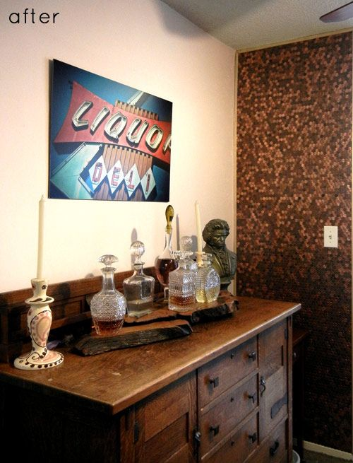 A wall of pennies.  Amazing idea.  I also love the buffet/sideboard.  Beautiful pulls and hinges.