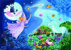 £10.00 DJECO The Fairy and the Unicorn - Jigsaw Puzzle - Magical little nighttime puzzle filled with flowers and creatures. Is the fairy turning night into day so the unicorn can play with her friends?  36 piece puzzle packaged in a gorgeous silhouette box, ideal for decorating a playroom or bedroom.