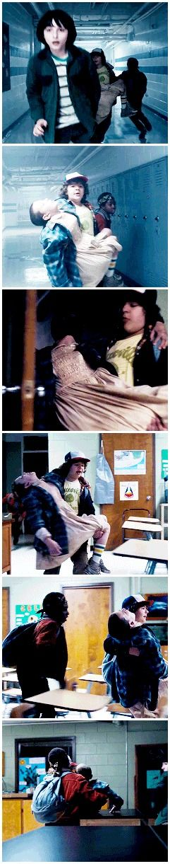 Dustin running and carrying Eleven (◠‿◠✿) #stranger things #1x08 #dustin…