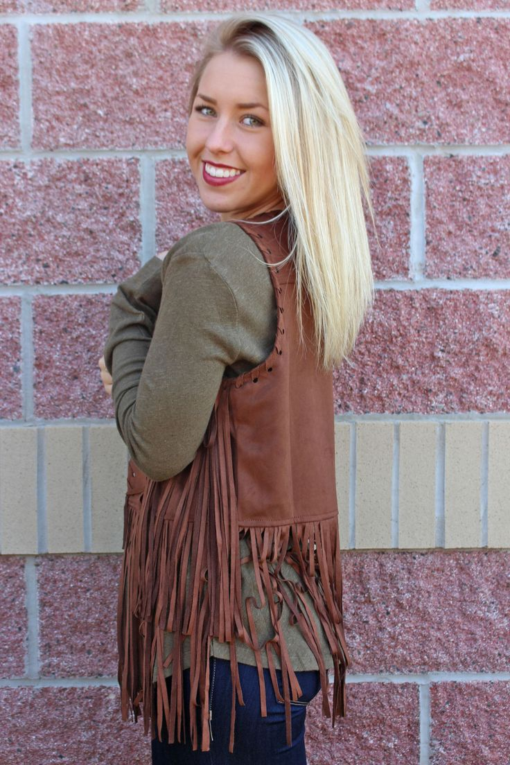 Suede long fringe vest. This super trendy suede vest is perfect layered over a Piko top. True to size. Model is 5'2 size 26 wearing small. 100% polyester. ALL CLEARANCE ITEMS ARE FINAL SALE.