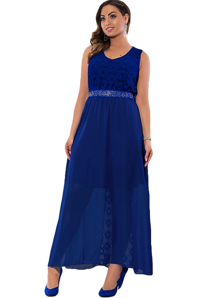 Elegant Ladies Lace Spliced Plus Size Maxi Dress_Plus size Dress_Plus size Clothing_Sexy Lingeire | Cheap Plus Size Lingerie At Wholesale Price | Feelovely.com