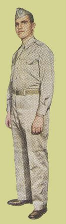 Officer's Summer Service Uniform  A cotton khaki shirt and trouser combo for wear in warm & tropical climates. Similar in appearance to the Enlisted Man's uniform in figure 3, the officer's uniform can be identified by the shirt's shoulder loops and the trouser's rear pocket flaps (not shown)
