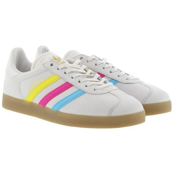 adidas Originals Sneakers - Gazelle Sneaker Vintage White Multicolor -... ($115) ❤ liked on Polyvore featuring shoes, multi color shoes, leather shoes, multi colored shoes, genuine leather shoes and gray flat shoes