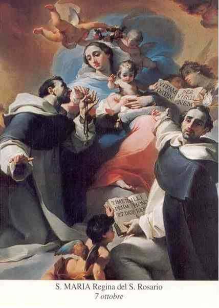 OCTUBRE: MES DEL SANTO ROSARIO  Nuestra Señora del Rosario  La Madre de Dios, en persona, le enseñó a Sto. Domingo a rezar el rosario en el año 1208 y le dijo que propagara esta devoción y la utilizara como arma poderosa en contra de los enemigos de la Fe.  http://es.catholic.net/op/articulos/15144/rosario-nuestra-seora-del.html