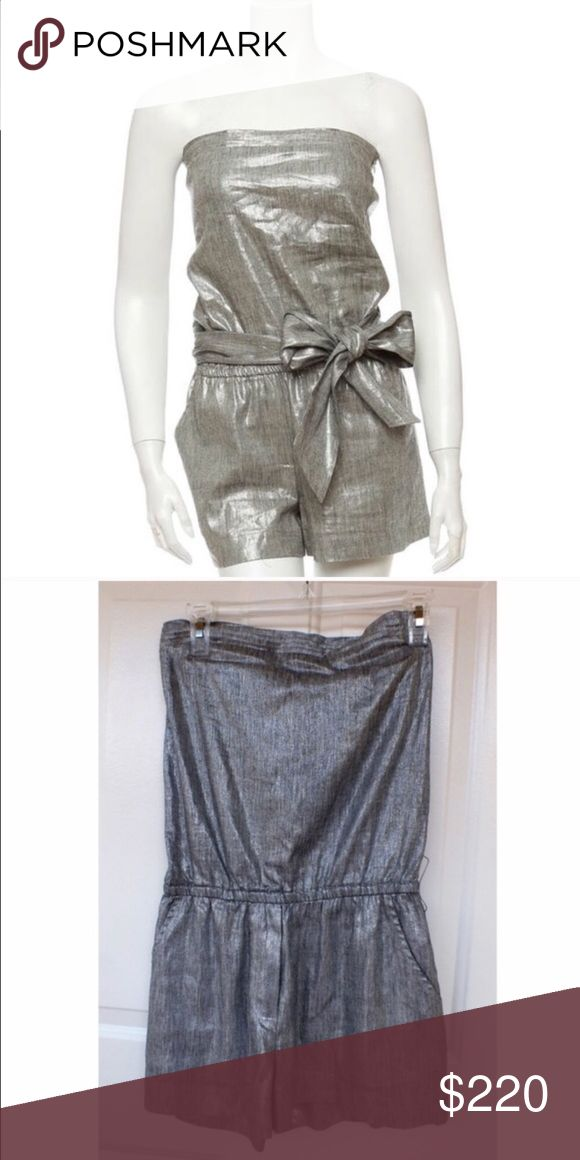Alice and Olivia strapless romper Worn once metallic silver with tie intact true to size Alice + Olivia Other