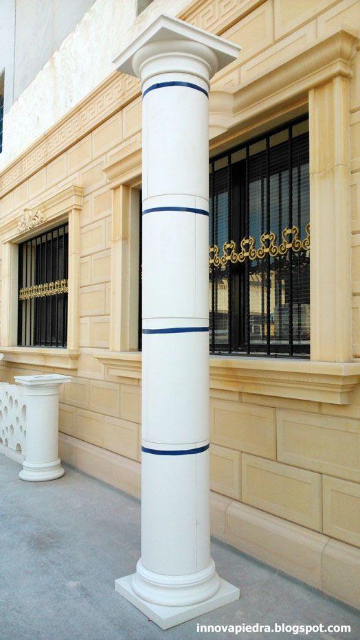 Recercados de ventanas, columnas prefabricadas, decoración, diseño de fachadas, piedra artificial, revestimientos decorativos, molduras, balaustrada