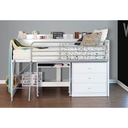 Talia Storage Loft Bed With Desk Multiple Colors White Low