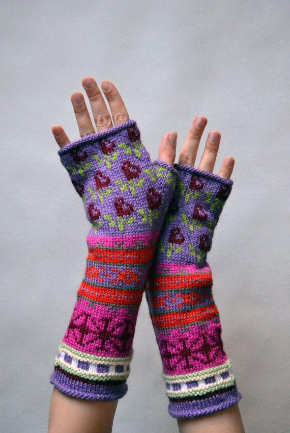 Long Colorful Fingerless Gloves Hand-knit Fingerless by lyralyra