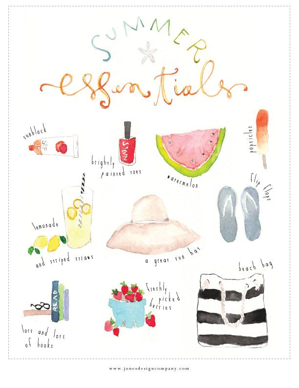 Super cute summer essentials watercolor print {free download} from Jones Design Company.