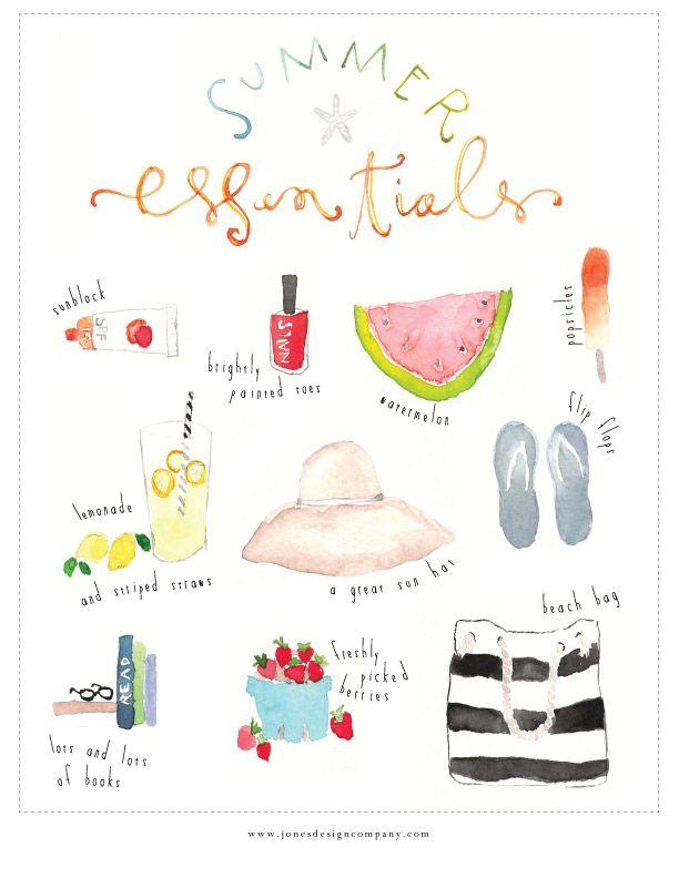 Super cute summer essentials watercolor print {free download} from Jones Design Company.