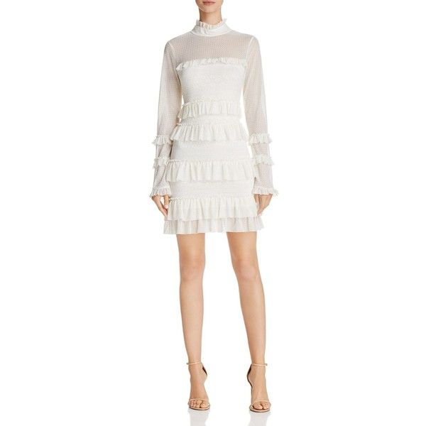 Guess Tamara Ruffled Lace Dress (4.815 RUB) ❤ liked on Polyvore featuring dresses, white, frilly dresses, white dress, white lace dress, flutter-sleeve dresses and ruffle dress