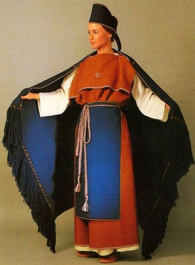Ancient national costume of Masku. Finland, the 12th century