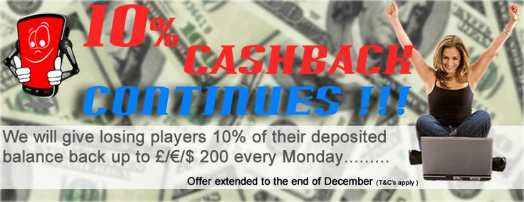 We give all losing players 10% of their deposits back every Monday for the month of December!! Thats why you should switch your casino to Tradacasino today!!  (t&c apply)