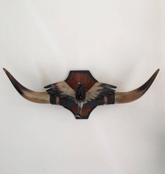 """4/' 7/"""" to 4/' 9/"""" MOUNTED STEER HORN COW BULL LONG HORNS ONE SET LONGHORN skull"""