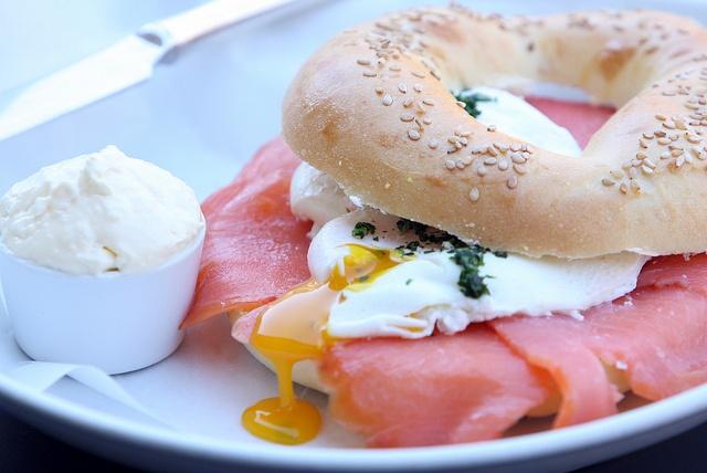 Salmon, egg and bagel brunch