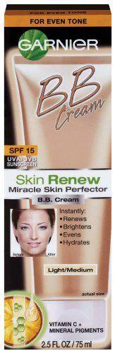 Garnier  Skin Renew Miracle Skin Perfector B.B. Cream, Light and medium, 2.5 Fluid OunceBb Creams, Perfector B B, Garnier Bb, Miracle Skin, Beautiful, Skin Perfector, Garnier Skin, Renewals Miracle, Skin Renewals