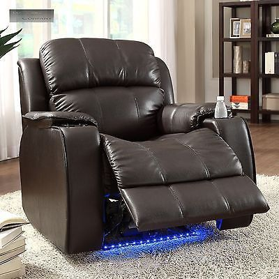 power massager recliner cup holder electric with neon lights lazy boy chair reclining