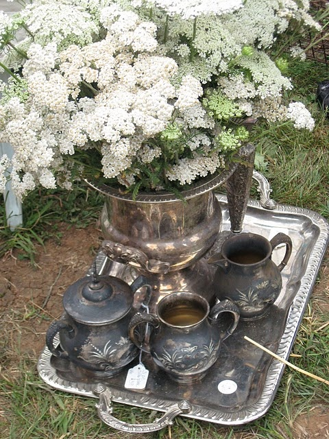 Silver set with white yarrow and Queen Ann's lace.