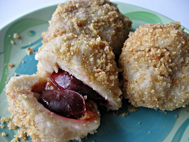 Plum dumplings! A Slovak dish we've not tried. Wonder if mom will make them for us for Easter?