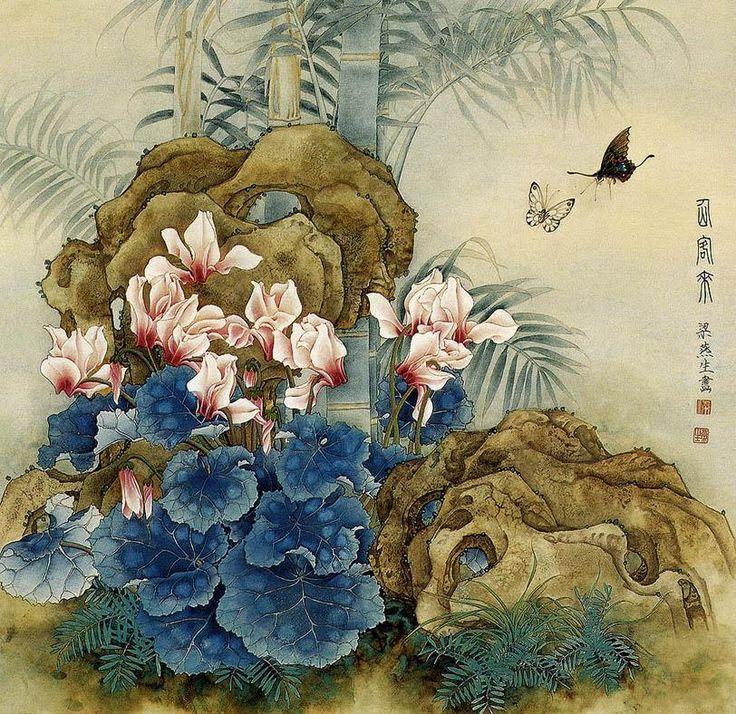 Liang YanSheng: Japanese Art, Watercolor, Art Painting Flowers, Art Paintings, Painting Art, Art Chinese Paintings, Chinese Artwork, Asian Art, China