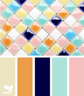 Very cheerful palette and I like the diamond tile angles and the way the curved surface deflects the light for subtly different colder hues