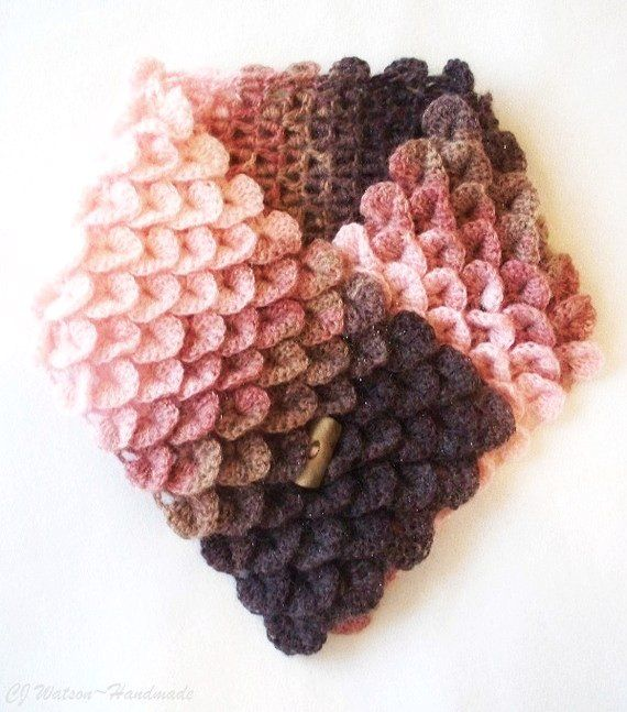 Crocheted Womens Crocodile Stitch Scarf Neckwarmer Chocolate Brown Warm Brown Rose and Pink