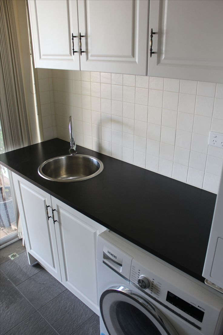Black Matt Laminate With Heritage Doors    Laundry Idea - Laundry Tops - Laundry Cupboards - Laundry Ideas - Laundry Sink - Laundries - Laundry Renovation - On the ball bathroom completed project   Bathroom Renovations Thornlie