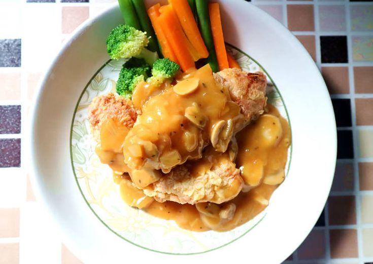Resep Steak Ayam Crispy Saus Jamur Oleh Dapur Adis Resep Resep Steak Jamur Resep