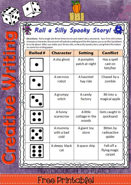 Roll a Silly Spooky Story - Awesome way to practice creative writing with 216 possible writing prompt combinations! Enjoy Halloween and have fun!