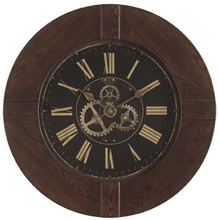 """Barrett Wall Clock Free Shipping! 30-Day Money-Back Guarantee! 3-Year Manufacturer Warranty!  Oak veneer case with walnut finish. Glass lens, distressed antique dial with Roman numerals and printed skeleton gears on the dial. Quartz time only movement.  Hand assembled. Quartz clock movements ensure reliability and trouble-free service. Includes 3-year manufacturer warranty. Requires batteries (not included.)   Barrett Wall Clock Diameter: 36"""", Depth: 3"""""""